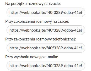 dodawanie adresu webhooków do czatu